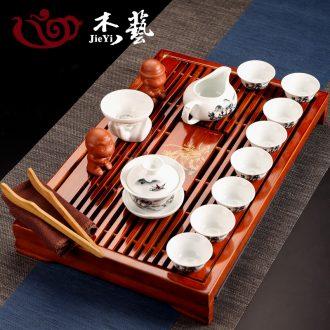Blue and white kung fu tea set a complete set of ceramic tea set solid wood kembat tea tray tea sea household white porcelain tea set