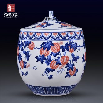 Jingdezhen blue and white household ceramics caddy new sitting room bedroom home decoration rich ancient frame furnishing articles