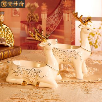 Home decorative furnishing articles European ceramic keys to receive dish the girlfriends moved into gifts deer furnishing articles of jewelry
