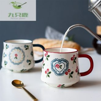 Nine deer lovely cherry household glass ceramic mug couple of office coffee cups cup B - 152