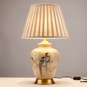 New Chinese style of sitting room lamps bedroom study American rural Europe type restoring ancient ways corner sofa what ano all copper ceramic lamp