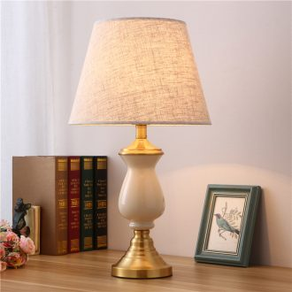 American desk lamp contracted and I sitting room bedroom nightstand lamp floor lamp European new Chinese style full copper ceramic lamp