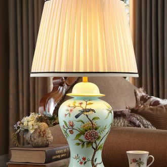 Modern new Chinese style ceramic desk lamp American creative hand - made painting of flowers and restoring ancient ways continental warm sitting room bedroom berth lamp