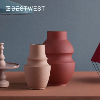 BEST WEST morandi color ceramic vases, furnishing articles north European style living room decorations dry flower vases, creative