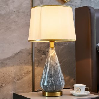 Contracted and contemporary bedroom whole copper Nordic light luxury home decoration to the hotel villa example room of the head of a bed ceramic lamp