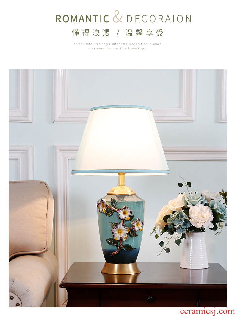 American luxury colored enamel lamp full copper european-style bedroom berth lamp creative warm sitting room ceramic new Chinese style