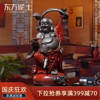 Oriental clay ceramic smiling Buddha furnishing articles of Chinese style household adornment moved into gifts/everything goes well