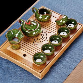 Simple small kung fu tea set home sitting room mini tea tray ceramic ice crack teapot tea ceremony office