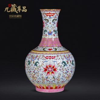Jingdezhen ceramic antique qing qianlong to hand pick a flower blue bottle of sitting room home decoration collection vases, furnishing articles