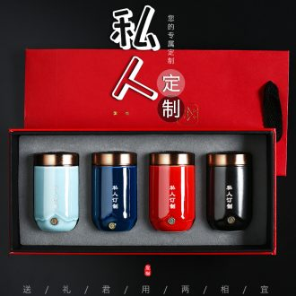 Travel Tang Xian mini caddy portable small ceramic pot seal gift set tea custom LOGO