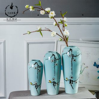 Jingdezhen ceramic vase office restaurant furnishing articles bedroom toilet blue Chinese porcelain home decoration