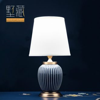 Light key-2 luxury American - style lamp ceramic decoration art designer pure color I and contracted sitting room bedroom lamps and lanterns of the head of a bed