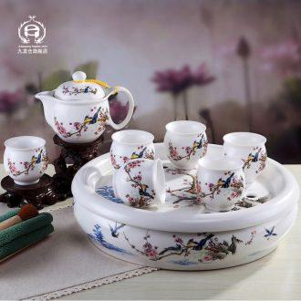 DH jingdezhen kung fu tea set home tea tray was double insulation cup teapot contracted Chinese tea set, ceramic