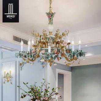 French chandelier european-style luxury living room bedroom villa garden restaurant creative full copper ceramic pendant lamps and lanterns