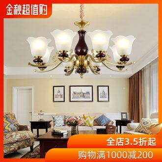 Ou all copper chandelier retro atmosphere of household ceramic contracted and contemporary dining-room lamp American copper lamp sitting room lamps and lanterns
