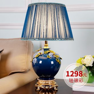 Colored enamel lamp lamp of bedroom the head of a bed new Chinese rural warm warm light sitting room european-style ceramic lamps and lanterns that move light
