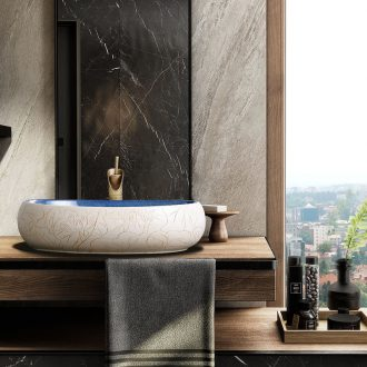 Ceramic oval table face basin of Chinese style household wind its art creative hotel toilet lavabo