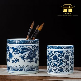 Jingdezhen ceramics small large blue pen container home office study adornment is placed on the the teacher students