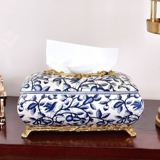 Murphy 's new Chinese style classic blue and white porcelain with copper paper towel box of I sitting room dining - room tea table place smoke box