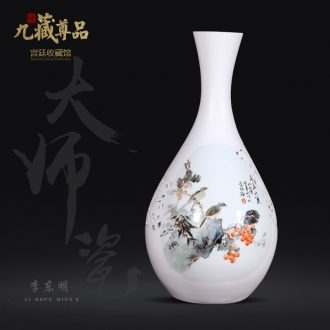 Jingdezhen ceramics dong-ming li hand-painted enamel vase Chinese style living room porch decoration crafts are arranging flowers
