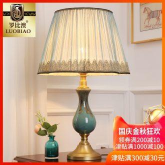 Europe type desk lamp bedroom nightstand lamp modern creative American sitting room is adjustable light sweet romance all copper ceramic lamp