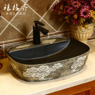 Restoring ancient ways is the stage basin carved lavabo square basin of Chinese style art ceramic lavatory basin basin household single basin