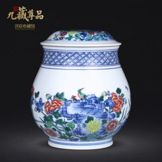 Jingdezhen ceramics hand-painted bucket color painting of flowers and tea canister to study home sitting room adornment handicraft furnishing articles
