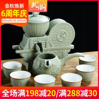 Beauty cabinet retro good harvest lazy kung fu tea set automatically make tea of household contracted ceramic cups