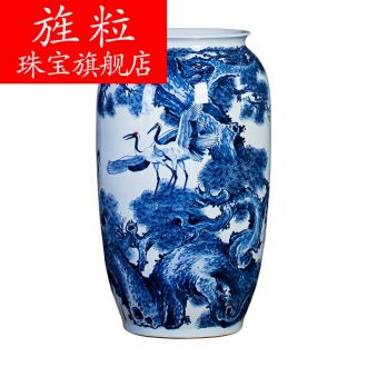 Bx jingdezhen ceramics hand-painted ground of blue and white porcelain vase pine crane live home sitting room adornment is placed