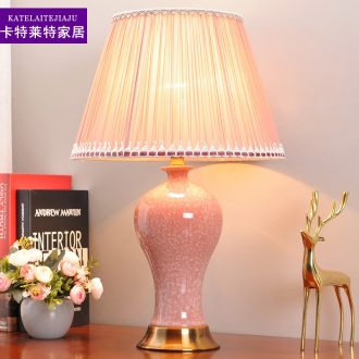 American ceramic desk lamp lamp of bedroom the head of a bed creative fashion warm warm light contracted and contemporary wedding room adornment lamps and lanterns