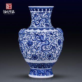 Jingdezhen blue and white antique ceramics new Chinese style living room TV cabinet dry flower big vase household adornment furnishing articles