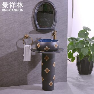 Ceramic column column type lavatory floor toilet basin one - piece household balcony lavatory