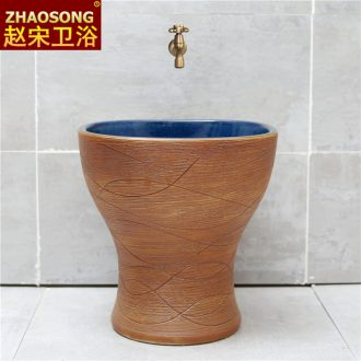 Chinese style restoring ancient ways ceramic mop pool balcony to sweep the floor mop pool toilet basin outdoor square mop outside groove