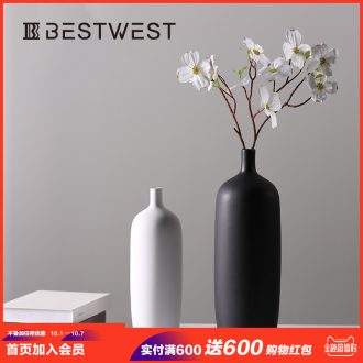 Nordic contemporary and contracted creative black and white ceramic vase hydroponic flower arranging flowers, furnishing articles sitting room home decoration