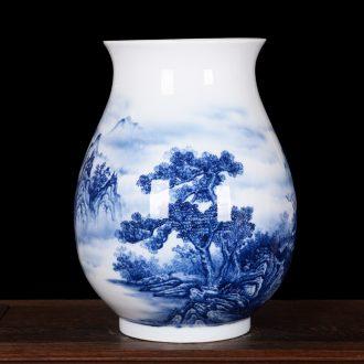 Jingdezhen ceramic master of high-grade hand-painted sitting room place jinxiu jiangnan vase household decoration process