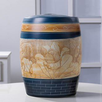 Jingdezhen ceramic barrel household small 10 jins m jar with cover sealed container insect-resistant tank storage bins installed ricer box