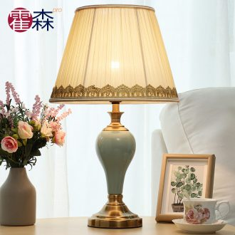 American ceramic lamps fashion show of contemporary and contracted sitting room adornment lamp household creative lamp of bedroom the head of a bed