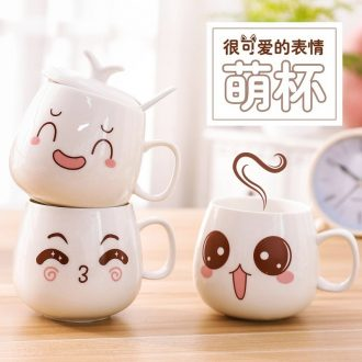 Creative cute couple mug ceramic cup coffee cup water cup with cover single han edition female students scoop of tide