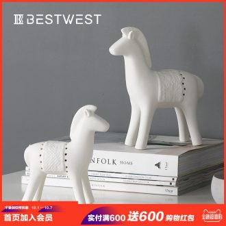 Creative ceramic pony furnishing articles biscuit firing contemporary and contracted home sitting room ark adornment cute desktop small ornament