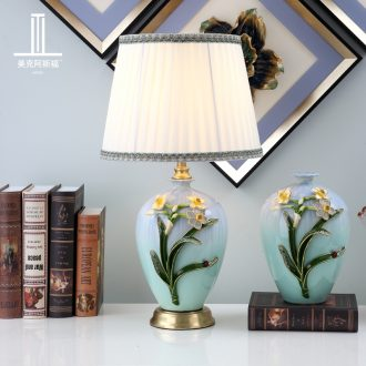 All copper colored enamel porcelain lamp sitting room luxury European American individuality creative villa lighting lamps and lanterns of bedroom the head of a bed