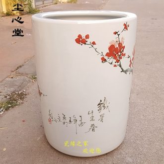 Dust heart of jingdezhen ceramic hand - made ground vase painting and calligraphy scrolls cylinder calligraphy and painting barrel receive tube umbrella barrel arrows