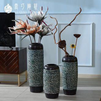 Jingdezhen ceramics new Chinese vase furnishing articles dried flower arranging flowers sitting room European - style circular desk ground bottle