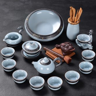 Tao blessing ceramic kung fu tea set household elder brother kiln teapot teacup combinations of a complete set of open your porcelain tea set