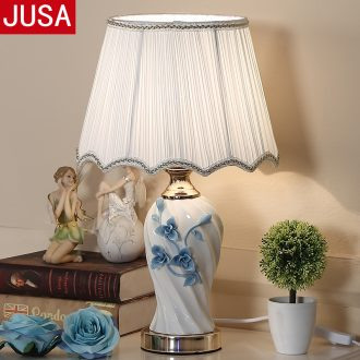 Long three contemporary and contracted ceramic desk lamp ou warm home sitting room creative Nordic study bedroom lamps and lanterns of the head of a bed