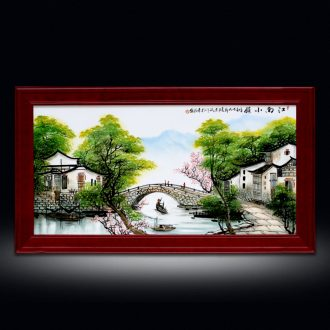 Jingdezhen porcelain plate Chinese style living room lucky framed and hang a picture hand-painted famille rose porcelain hanging screen porch corridor murals