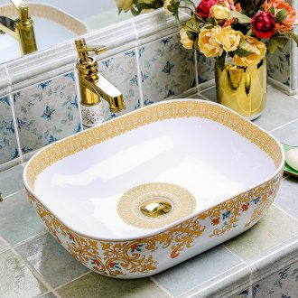 Basin of wash one square ceramic household European - style bathroom toilet Basin creative art on the stage Basin washing a face that defend bath