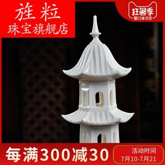 Bm ceramic layer 7 wenchang tower home furnishing articles dehua porcelain sculpture crafts jewelry D27-114