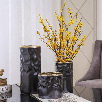 Jingdezhen ceramic vase northern light black creative home sitting room key-2 luxury furnishing articles dried flowers flower arrangement table decorations