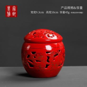 Royal elegant wedding double hollow out caddy fixings ceramic large red seal pot store content receives gifts