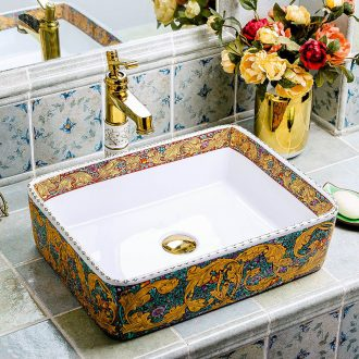 Square ceramic creative household European toilet stage basin bathroom sanitary ware art the pool that wash a face basin basin that wash a face